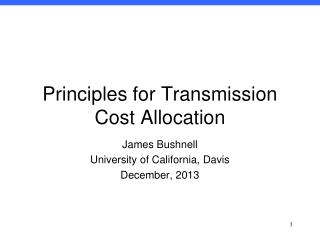 Principles for Transmission Cost Allocation