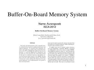 Buffer-On-Board Memory System