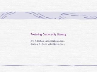 Fostering Community Literacy