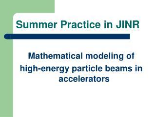 Summer Practice in JINR