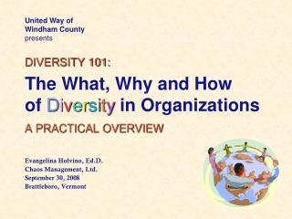 DIVERSITY 101: The What, Why and How of D i v e r s i t y in Organizations A PRACTICAL OVERVIEW