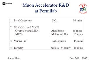 Muon Accelerator R&D  at Fermilab