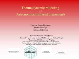 Thermodynamic Modeling  o f  Astronomical Infrared Instruments