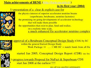 M ain achievement s  of BENE ( bene.nafn.it/ ) i n  its first year ( 2004 )
