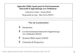 Approches Multi-Agents pour les Environnements Interactifs d'Apprentissage avec Ordinateur