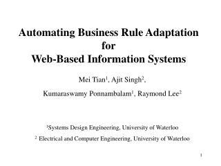 Automating Business Rule Adaptation  for  Web-Based Information Systems