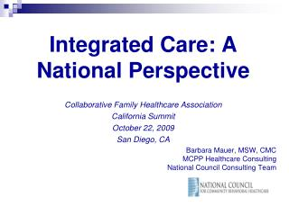 Integrated Care: A National Perspective
