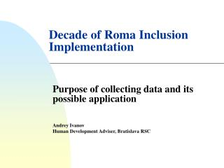 Decade of Roma Inclusion Implementation