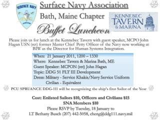Surface Navy Association Bath, Maine Chapter Buffet Luncheon