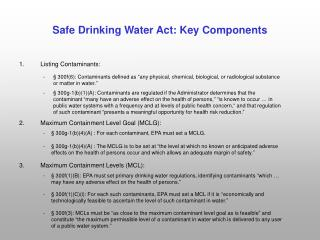 Safe Drinking Water Act: Key Components