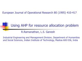 Using AHP for resource allocation problem