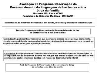 Dissertação de Mestrado Profissional em Saúde, Interdisciplinaridade e Reabilitação