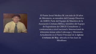 El Pastor Josué Medina M. con más de 20 años  de Ministerio, es miembro del Consejo Directivo
