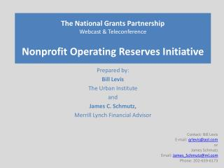 The National Grants Partnership Webcast  Teleconference  Nonprofit Operating Reserves Initiative