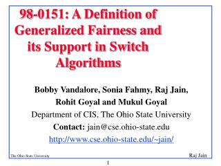 98-0151: A Definition of Generalized Fairness and its Support in Switch Algorithms