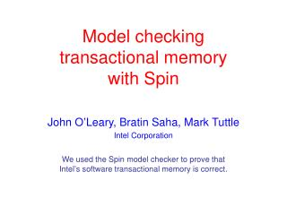 Model checking  transactional memory with Spin