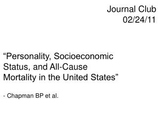 Journal Club 02/24/11