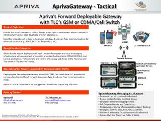 Apriva's Forward Deployable Gateway with TLC's GSM or CDMA/Cell Switch