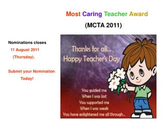 Most Caring Teacher Award 2011