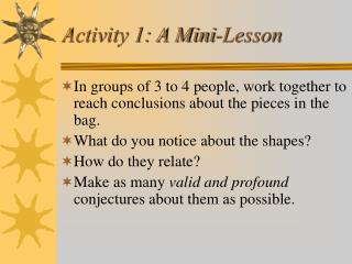 Activity 1: A Mini-Lesson