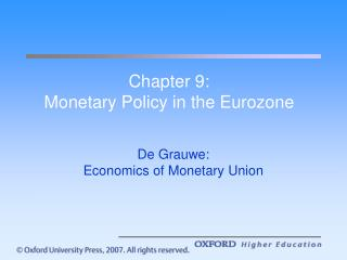 Chapter 9: Monetary Policy in the Eurozone