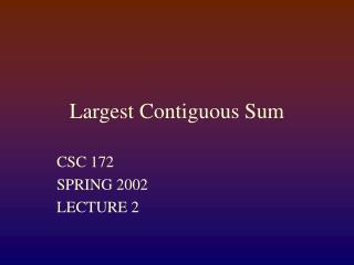 Largest Contiguous Sum
