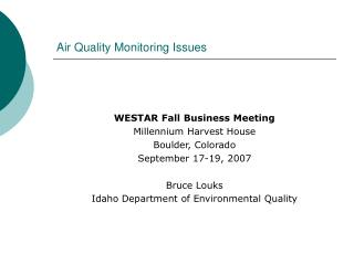 Air Quality Monitoring Issues