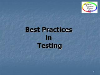 Best Practices  in  Testing
