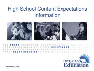 High School Content Expectations Information