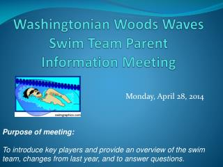 Washingtonian Woods Waves  Swim Team Parent  I nformation Meeting