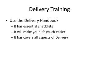 Delivery Training