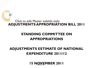 Adjustments Estimate of National Expenditure 2011/12