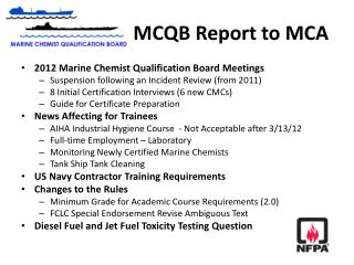 MCQB Report to MCA