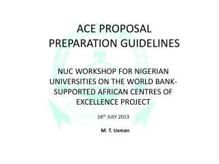 ACE PROPOSAL  PREPARATION GUIDELINES