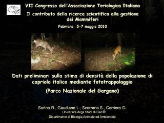 VII Congresso dell�Associazione Teriologica Italiana