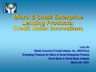 Micro & Small Enterprise Lending Products: Credit Union Innovations