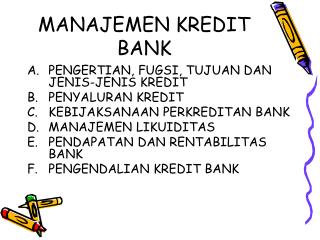 MANAJEMEN KREDIT BANK