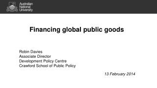 Financing global public goods