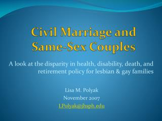 Civil Marriage and Same-Sex Couples