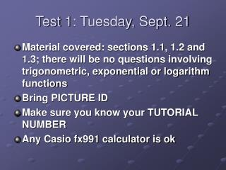 Test 1: Tuesday, Sept. 21