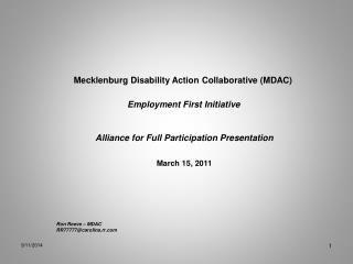 Mecklenburg Disability Action Collaborative (MDAC)