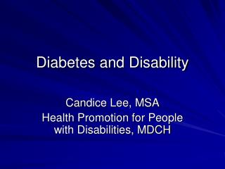 Diabetes and Disability