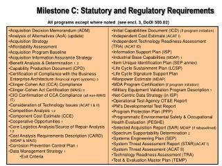 Milestone C: Statutory and Regulatory Requirements