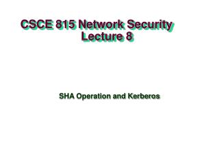 CSCE 815 Network Security                     Lecture 8