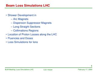 Beam Loss Simulations LHC