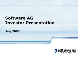 Software AG Investor Presentation