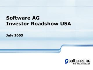 Software AG Investor R oadshow USA