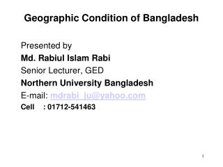 Geographic Condition of Bangladesh