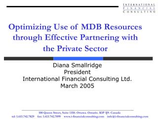 Optimizing Use of MDB Resources through Effective Partnering with the Private Sector