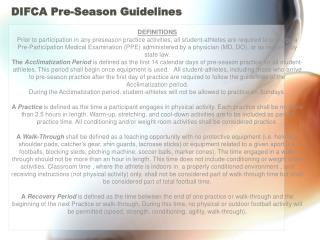 DIFCA Pre-Season Guidelines